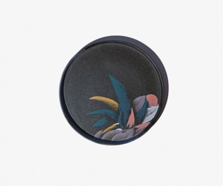 Dinner plate with blue plant