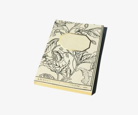 Black and white Rosa Mundi notebook