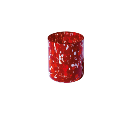 Red and white Murano glass
