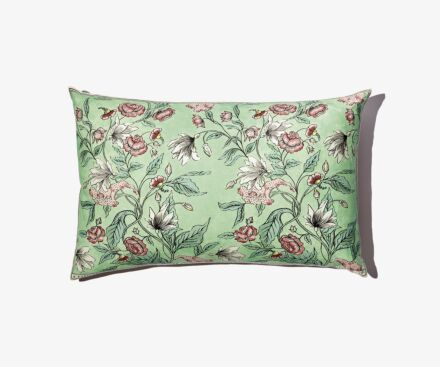 Large coloured Rosa Mundi cushion