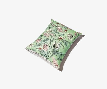 Small coloured Rosa Mundi cushion
