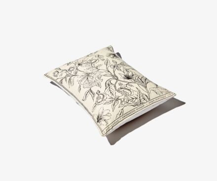 Small black and white Rosa Mundi cushion