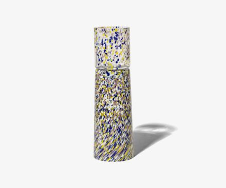 MURANO BLUE/YELLOW CANDLE HOLDER-VASE