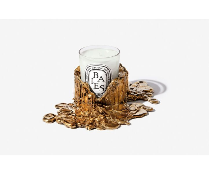 GOLD BRONZE CANDLE HOLDER M