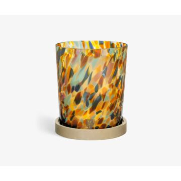 Multicolored glass candle holder