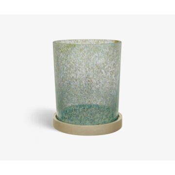 Flecked glass candle holder