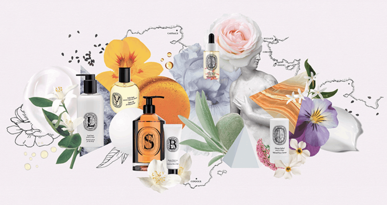 visual of the art of skincare collection on romantic background